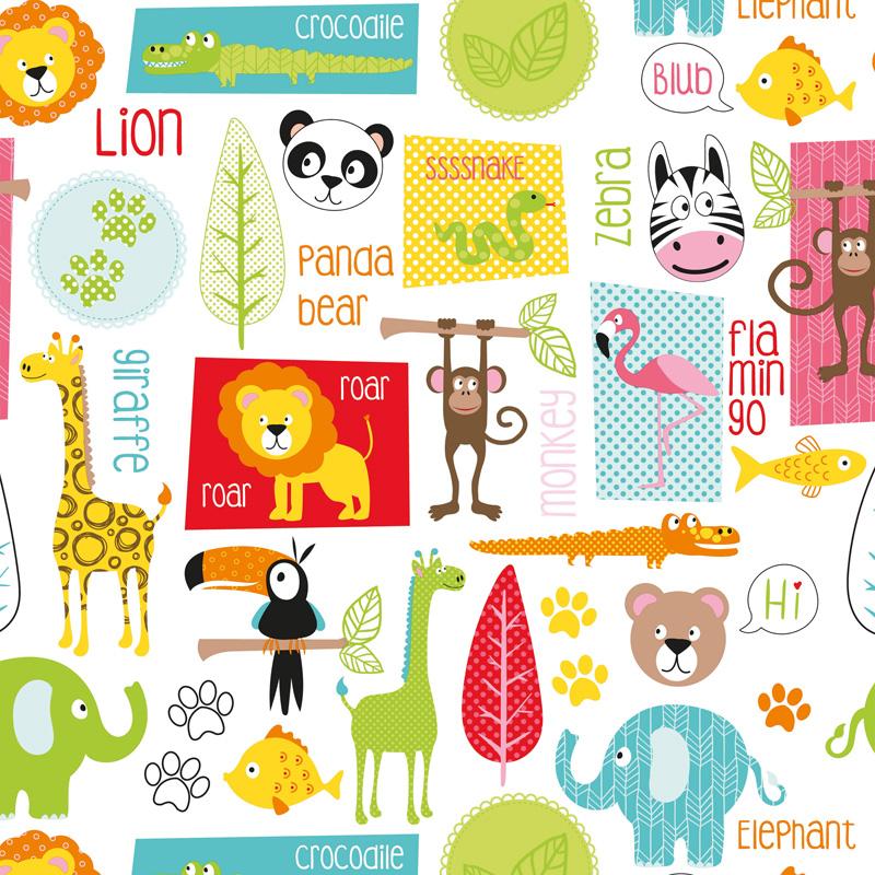 Coated inpakpapier - Happy dieren dessin