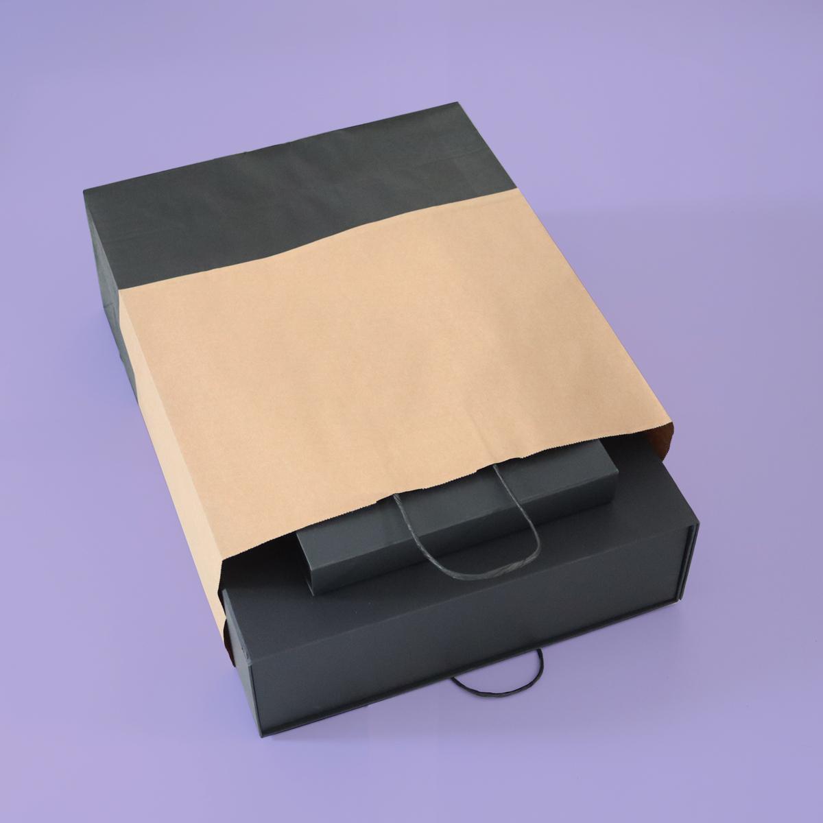Twisted papieren tassen - Bruin/zwart duotone