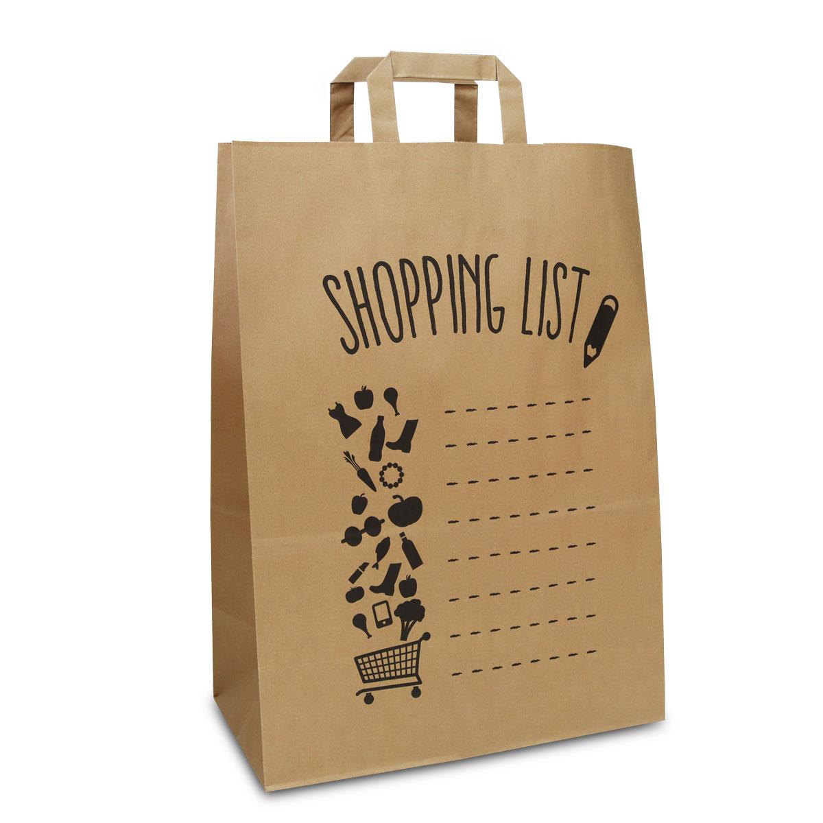 Kraft tassen - Shopping list