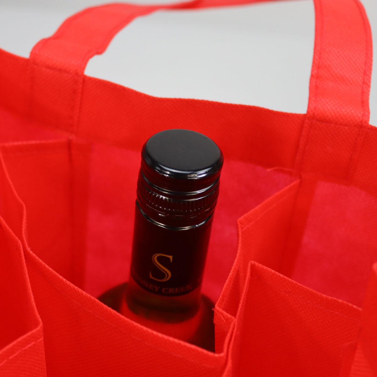 Non-woven wijnflestassen voor 6 flessen