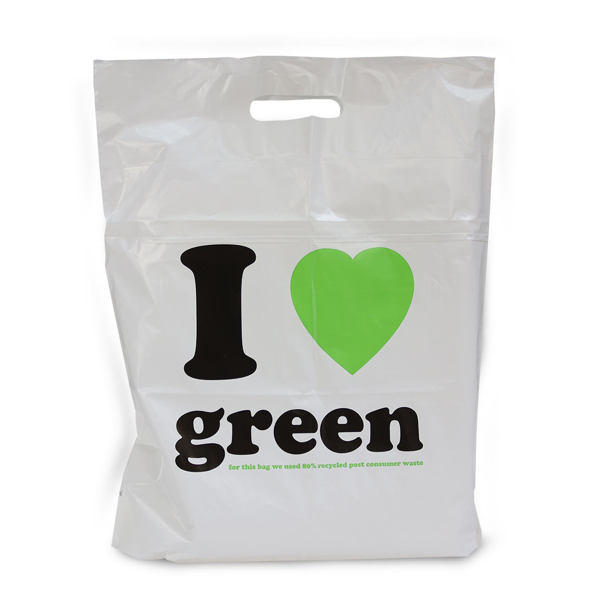Gerecyclede budget plastic tassen - I love green
