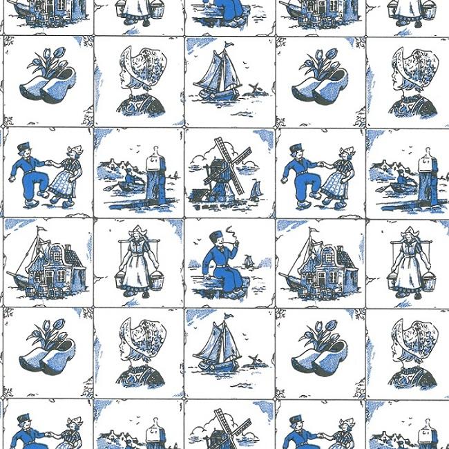 Wit kraft inpakpapier - Oud Hollands dessin