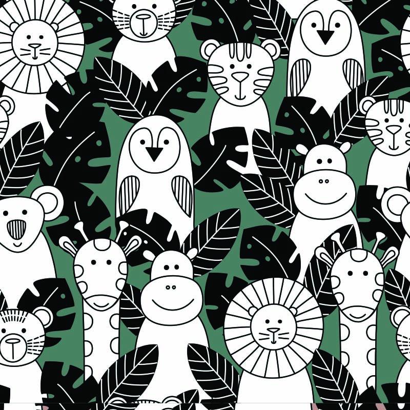 Wit kraft inpakpapier - Jungle dessin
