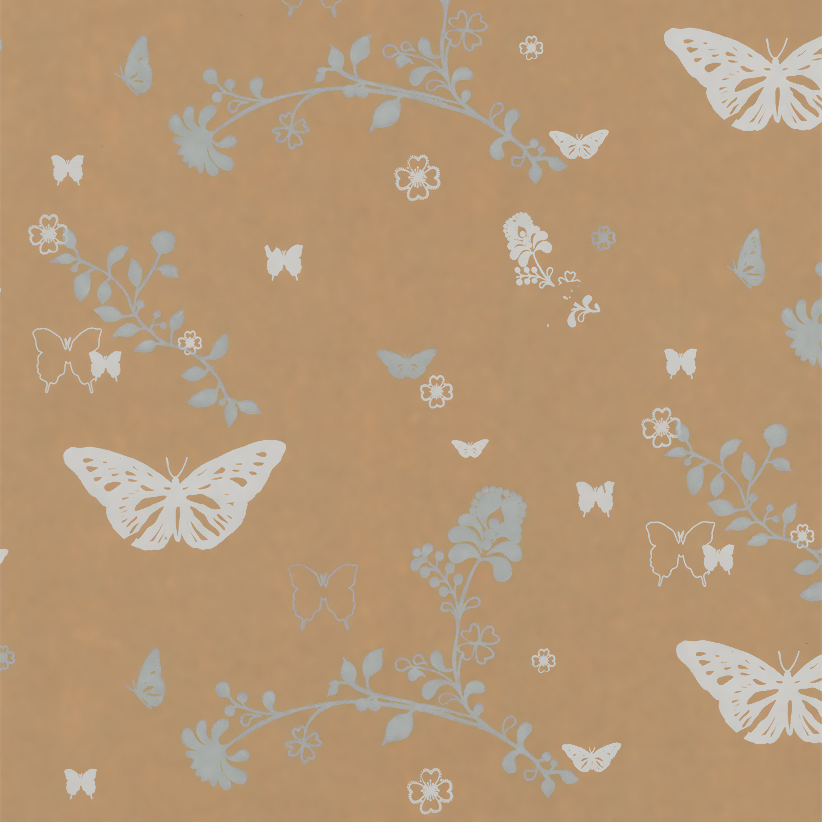 Bruin inpakpapier - Vlinder dessin