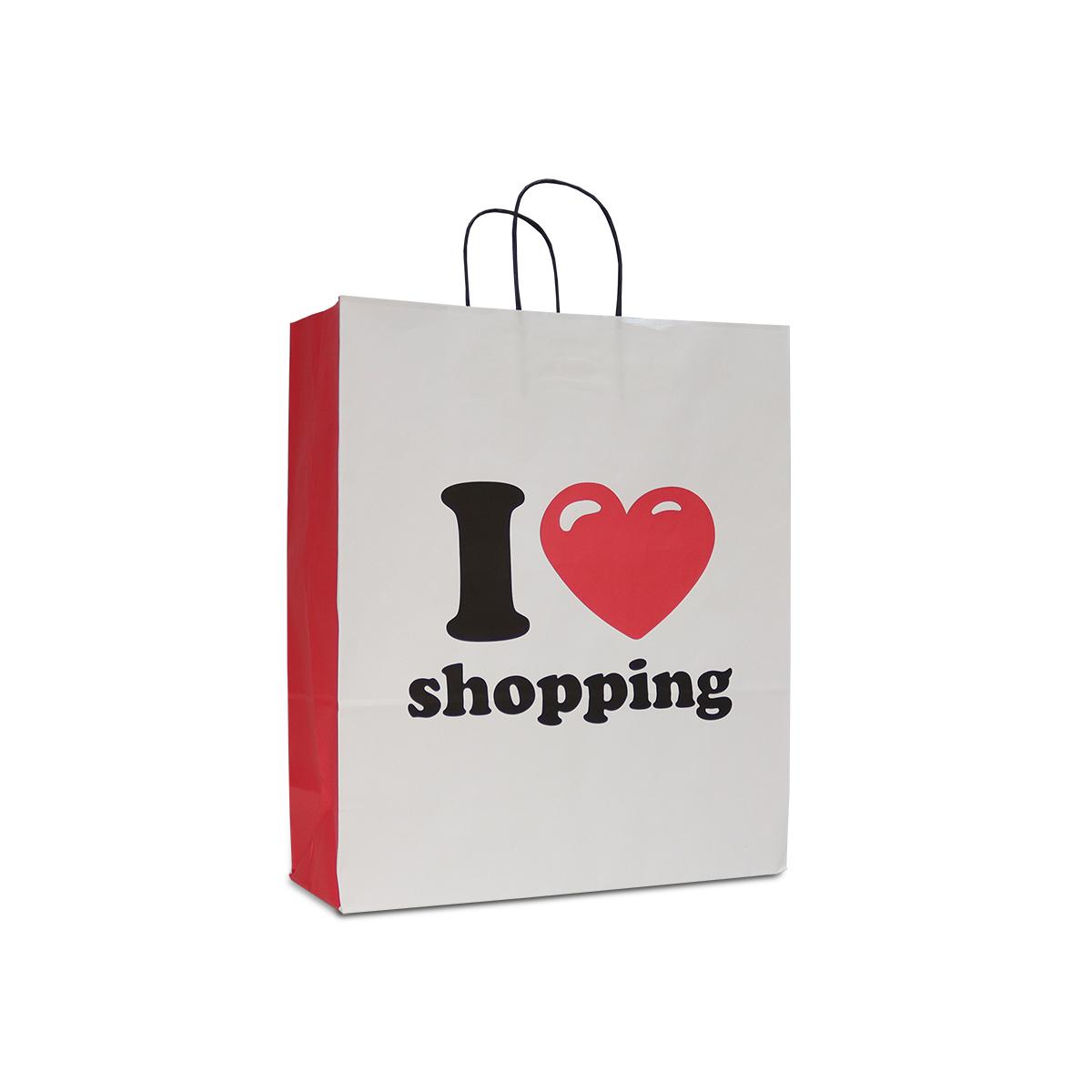 Twisted papieren tassen - I love shopping