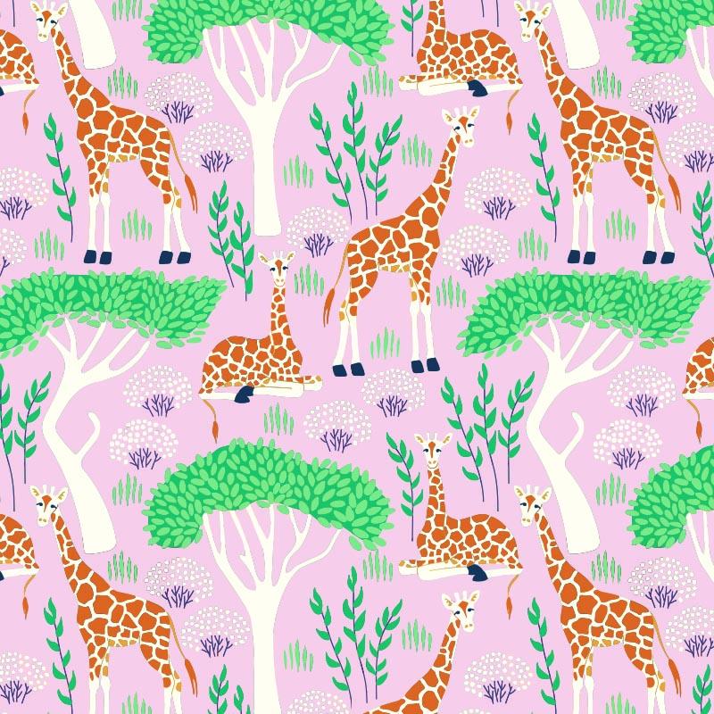 Wit kraft inpakpapier - Giraffe dessin
