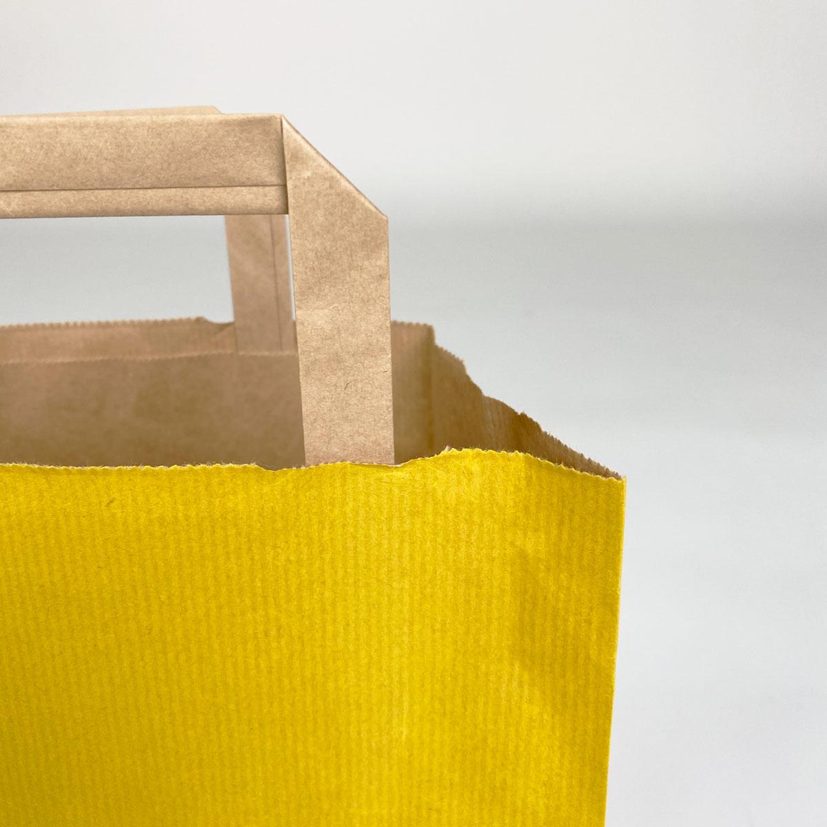 Budget papieren tassen - Gestreept geel