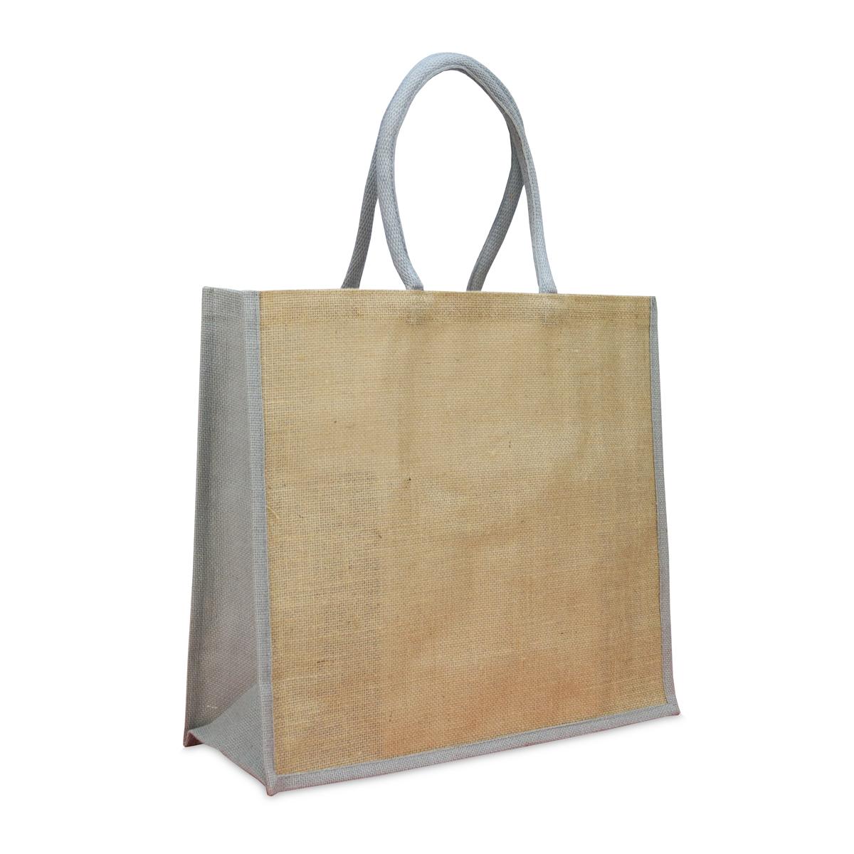 Jute tassen met gekleurde koorden en zijvouwen