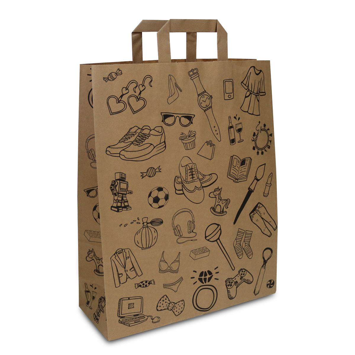 Kraft tassen FSC® - Doodle retail