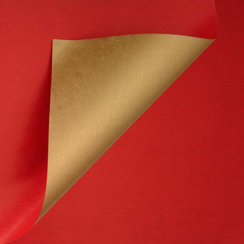 Gestreept inpakpapier - Rood/goud