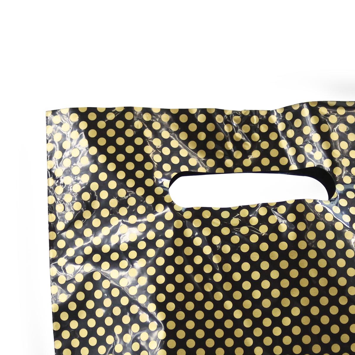 Budget plastic tassen - Zwart met gouden stipjes