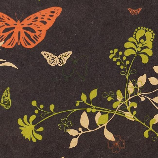 Bruin inpakpapier - Vlinder/bloem dessin