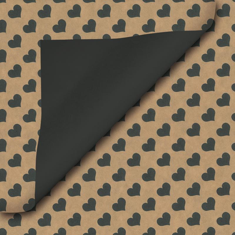 Bruin inpakpapier - Hart dessin