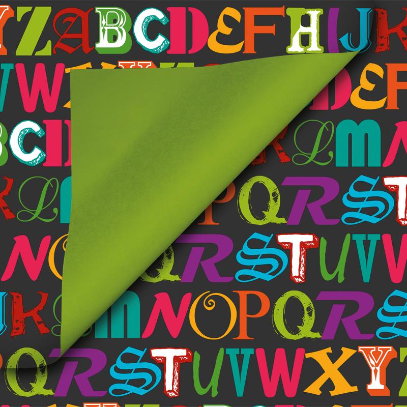 Coated inpakpapier - Alfabet dessin