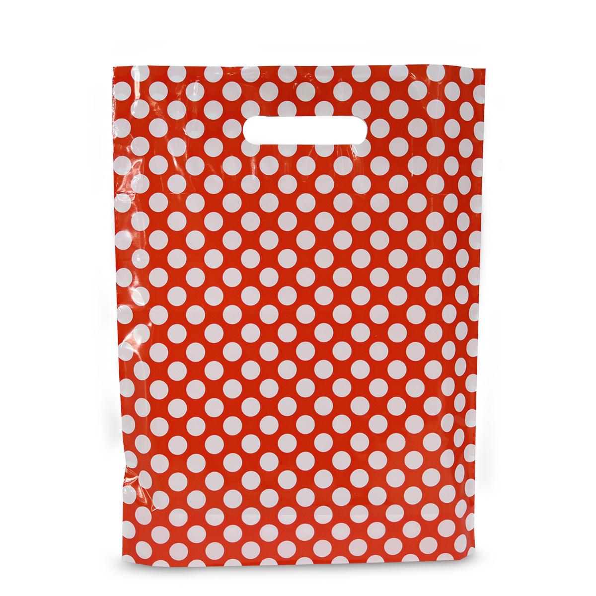 Budget plastic tassen - Rood met witte stippen