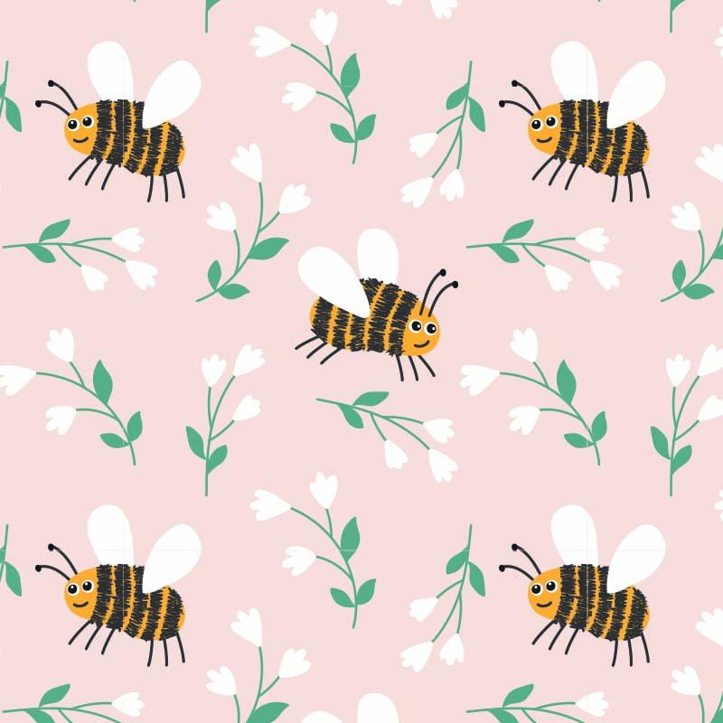 Gras inpakpapier - Bijen dessin