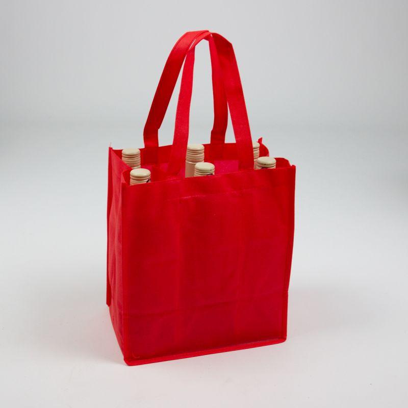 Nonwovenwijnflestassen-nonwovenwinebags-red